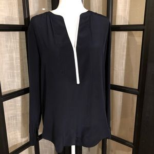 Ann Taylor navy silk tunic with ivory trim size M